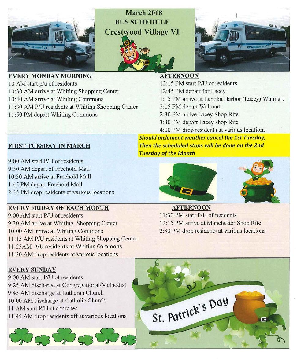 March Bus Schedule