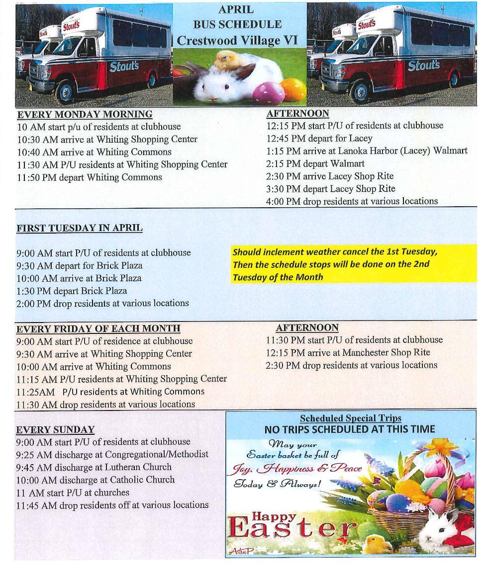April Bus Schedule