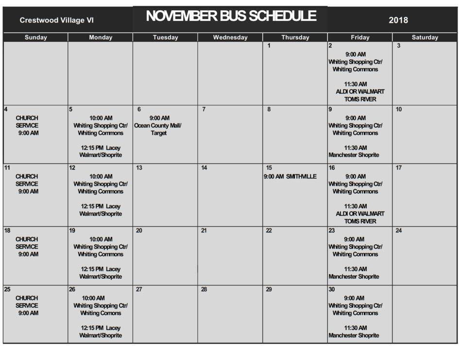 Oct Bus Schedule