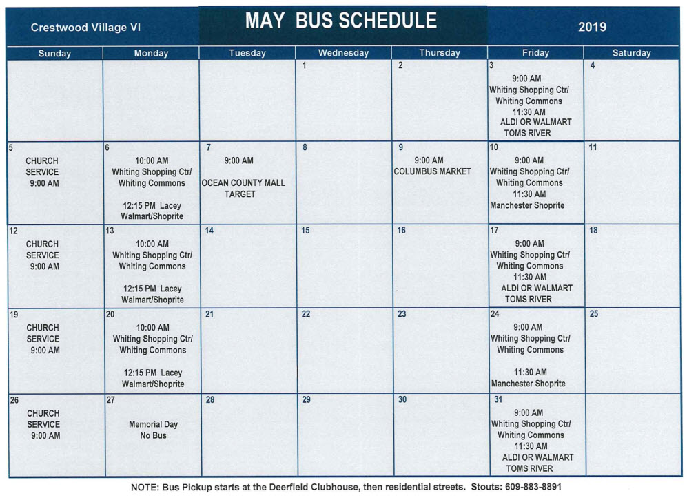 May Bus Schedule