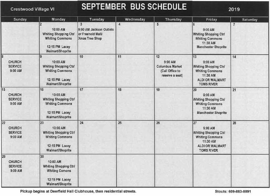 September Bus Schedule