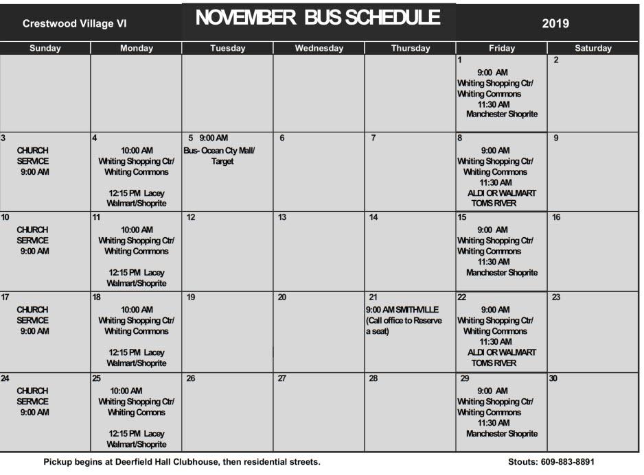 November Bus Schedule