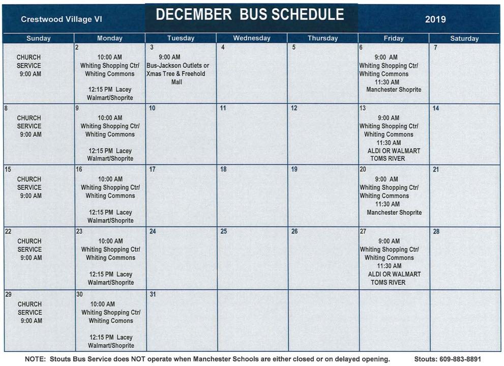 December Bus Schedule